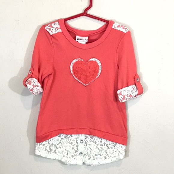 Little Lass Pink Floral Lace Heart Outfit Size 6